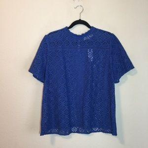 NWT Loft Blue Lace Top Sz. Medium